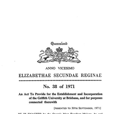 Cover Image - Assent to Griffith University Act 1971