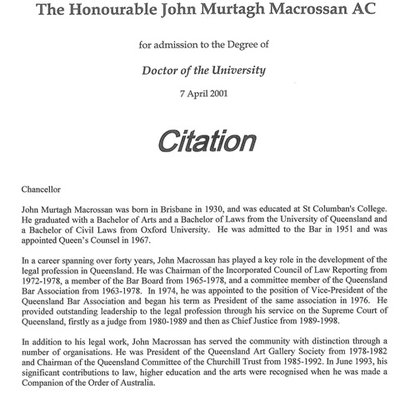 Copy of the Citation for The Honourable John Macrossan's 'Doctor of the University' awarded by the Griffith Council in 2001